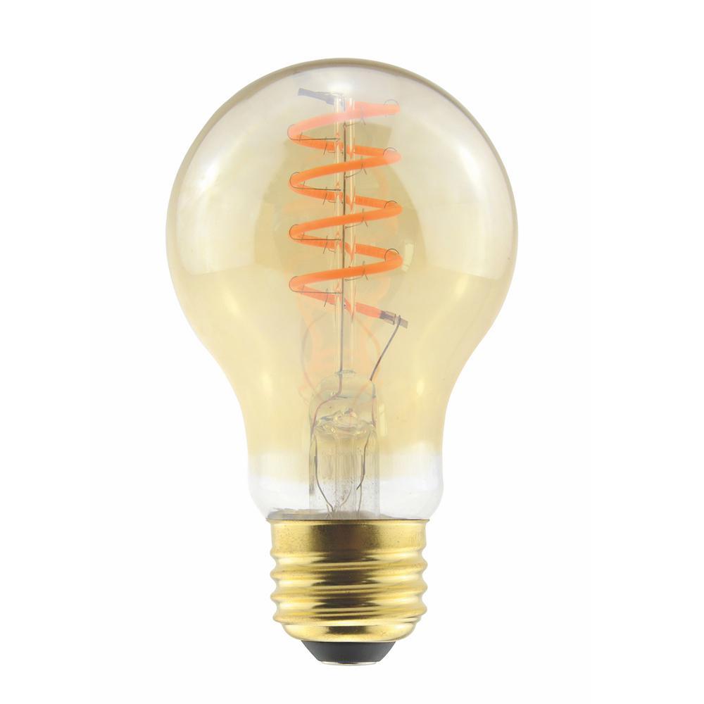 40-Watt Equivalent 6-Watt A19 Dimmable LED Amber Curved Filament Antique Vintage Light Bulb 2000K 85078