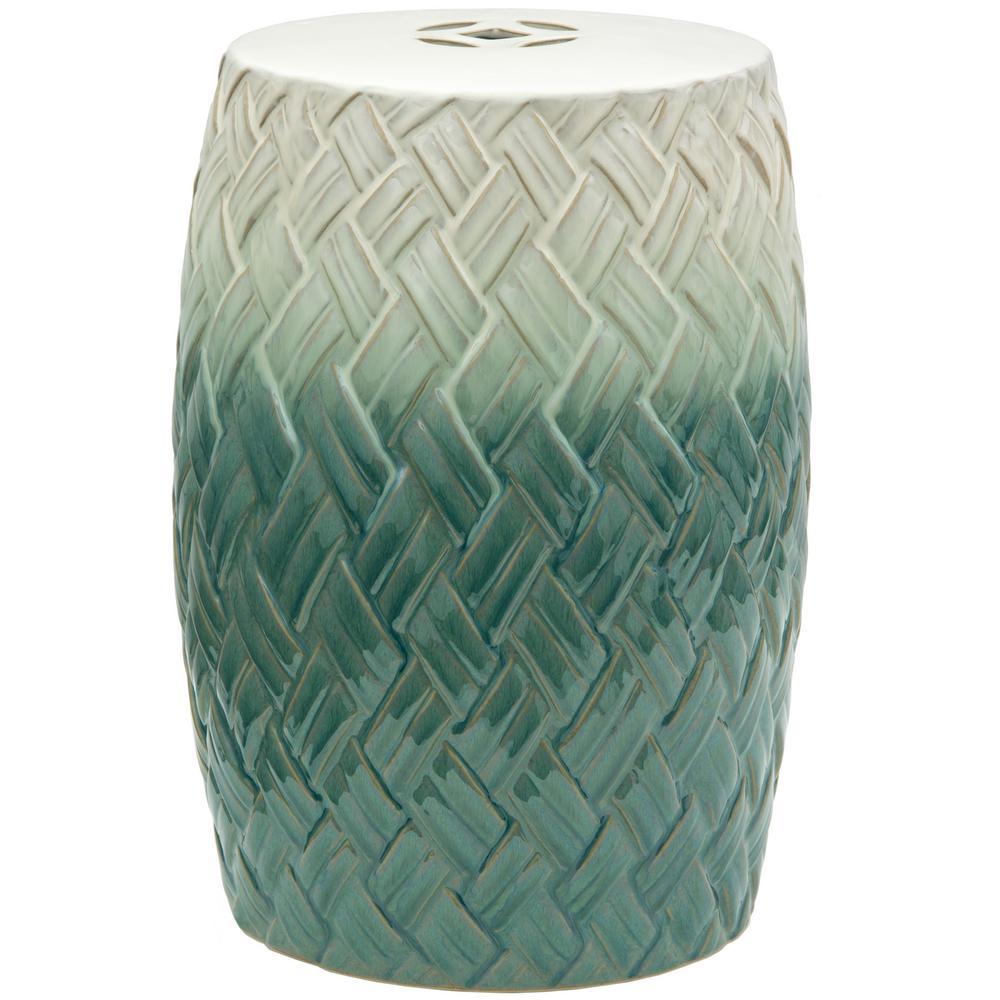 Oriental Furniture Woven Design Porcelain Ottoman