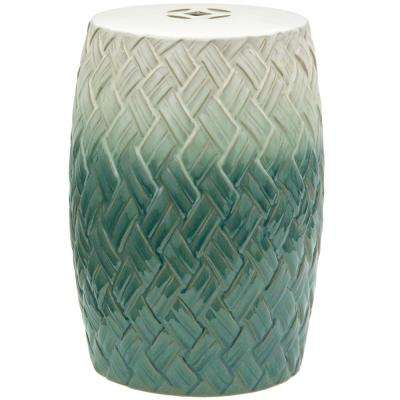 Oriental Furniture Woven Design Porcelain Ottoman