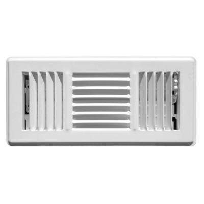 4 in. x 10 in. Steel 3 Way Floor Diffuser, White