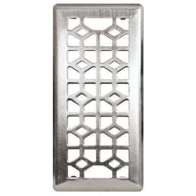 4 in. x 10 in. Abstract Steel Floor Register in Brushed Steel
