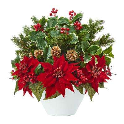 Christmas Flower Arrangements Artificial.18 In Poinsettia Holly Leaf And Pine Artificial Arrangement In White Vase