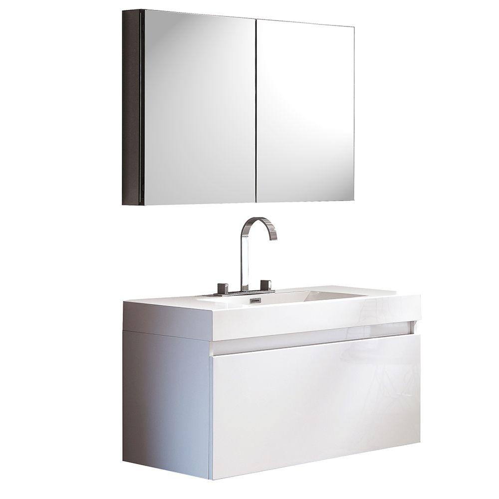 Fresca Mezzo 40 in. Vanity in White with Acrylic Vanity Top in White and Medicine Cabinet