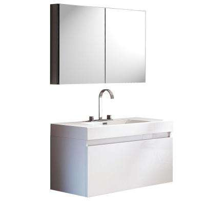 Mezzo 40 in. Vanity in White with Acrylic Vanity Top in White and Medicine Cabinet