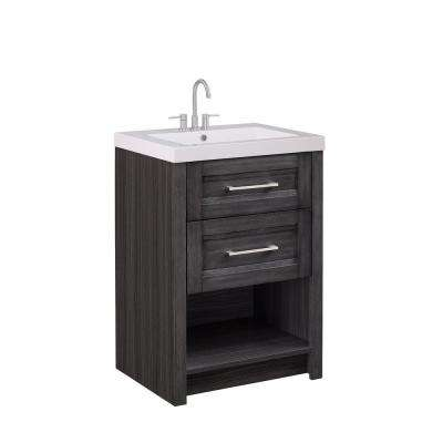 24 in. W x 18.75 in. D x 34 in. Bath Vanity in Modern Grey Finish with White Cultured Marble Vanity Top and White Basin