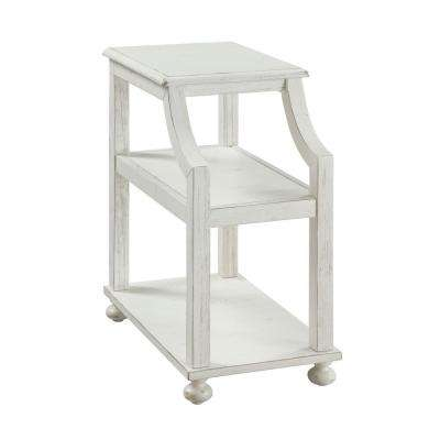 Lilith White Rub Chairside Accent Table