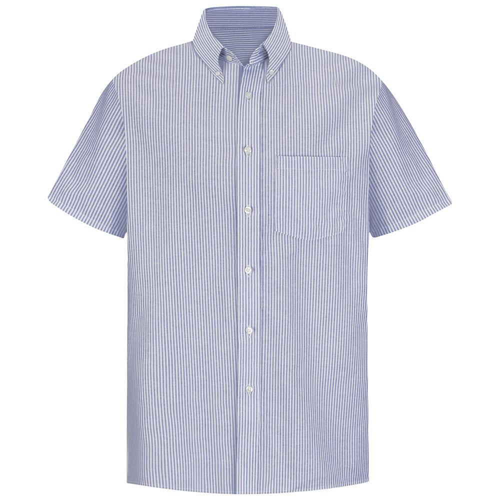 Men's Size 21.5 Blue / White Stripe Executive Oxford Dress Shirt