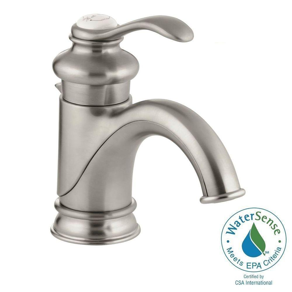 KOHLER Fairfax Single Hole Single Handle Low Arc Bathroom Vessel Sink Faucet  With Lever Handle In Vibrant Brushed Nickel K 12182 BN   The Home Depot