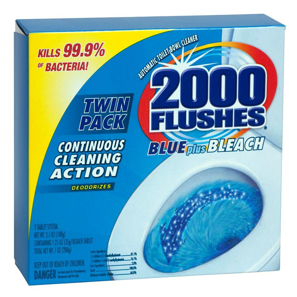 2000 Flushes 2-Count Blue-Plus-Bleach Automatic Bowl Cleaner (Case of 6)