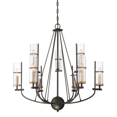 Sussex Court 9-Light Smoked Iron With Aged Gold Chandelier