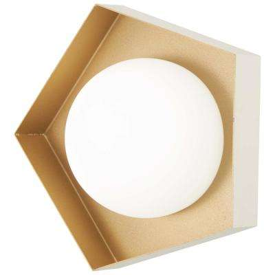 Five-O 40-Watt Equivalence Textured White Exterior with Gold Leaf Interior Integrated LED Bath Light