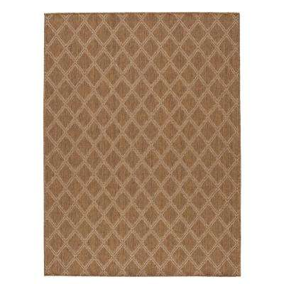 Diamond Brown/Beige 8 ft. x 10 ft. Indoor/Outdoor Area Rug