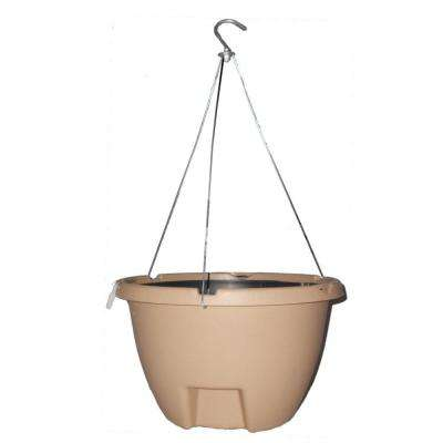 The Weekender 16 in. Sand Polypropylene Hanging Self-Watering Planter