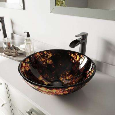 Glass Vessel Bathroom Sink in Brown and Gold Fusion and Niko Faucet Set in Antique Rubbed Bronze