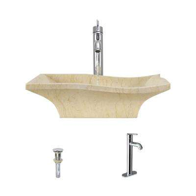 Stone Vessel Sink in Egyptian Yellow Marble with 718 Faucet and Pop-Up Drain in Chrome