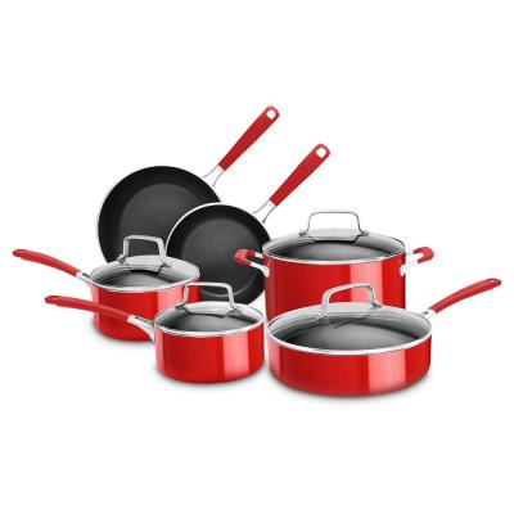 Aluminum Nonstick 10-Piece Cookware Set with Lids