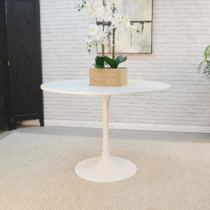 40 in. Enzo White Round Marble Top Dining Table