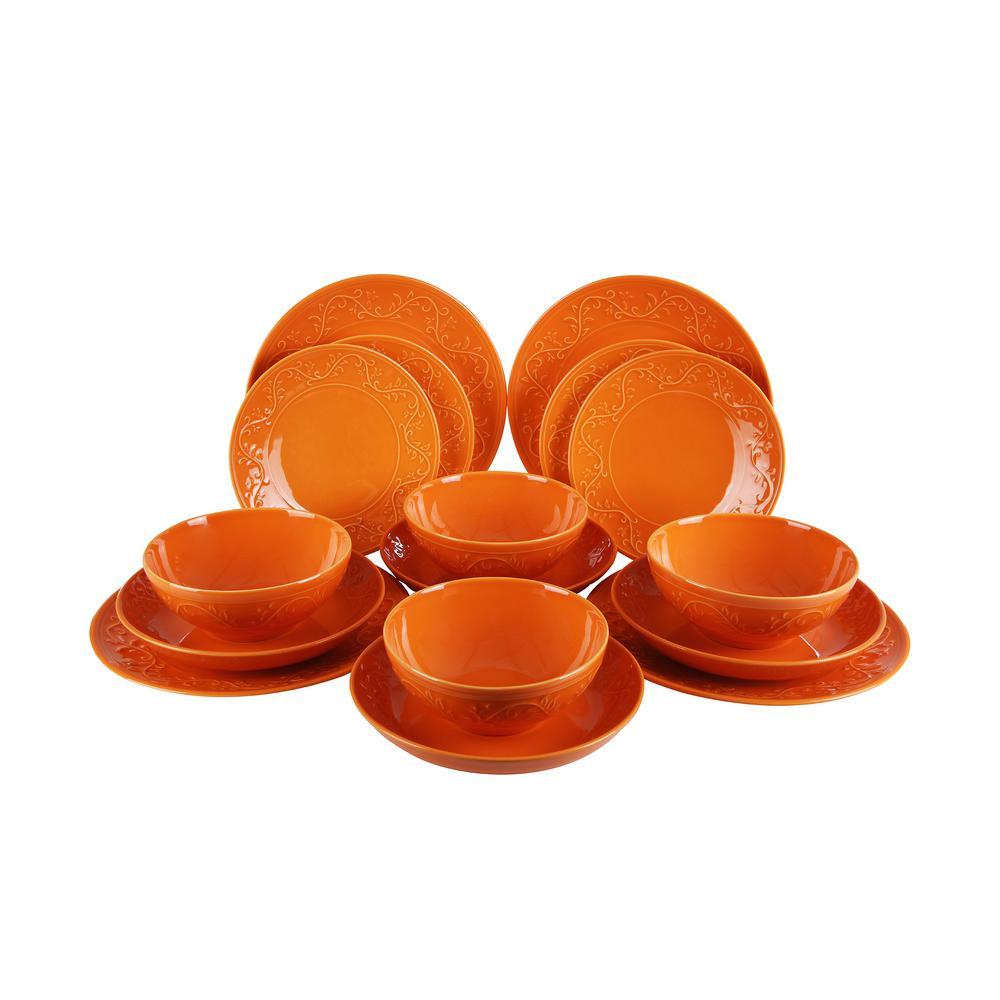 Kutahya Ivy Collection 16-Piece Orange Embossed Earthenware Dinnerware Set