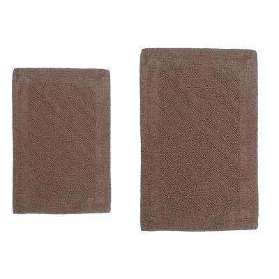 Shooting Star Natural 20 in. x 30 in. and 40 in. x 24 in. 2-Piece Reversible Bath Rug Set