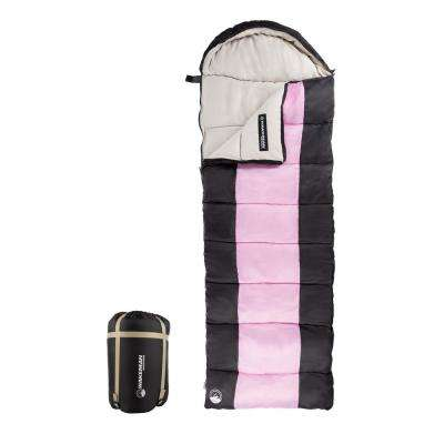 3-Season Envelope Style Sleeping Bag with Carrying Bag and Compression Straps in Pink