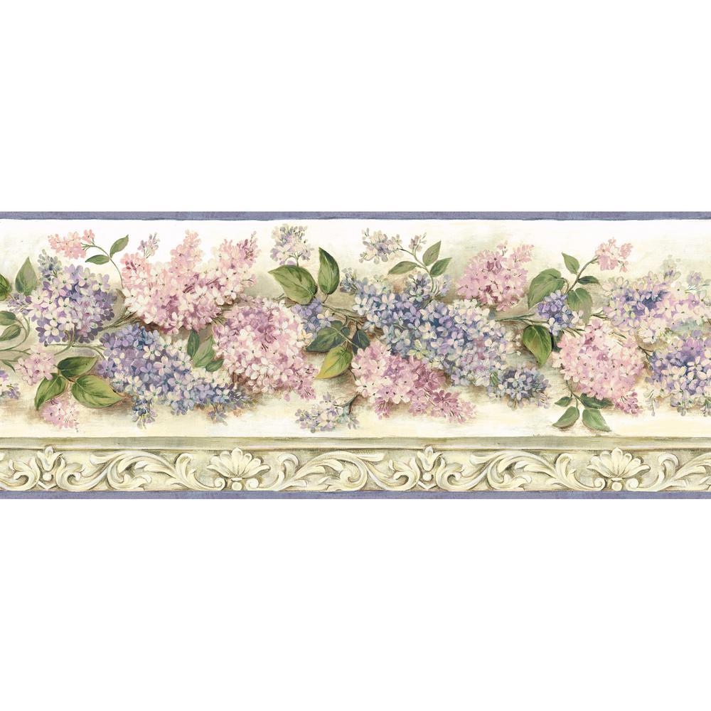 Ethel Cream Heirloom Lilacs Trail Wallpaper Border Sample