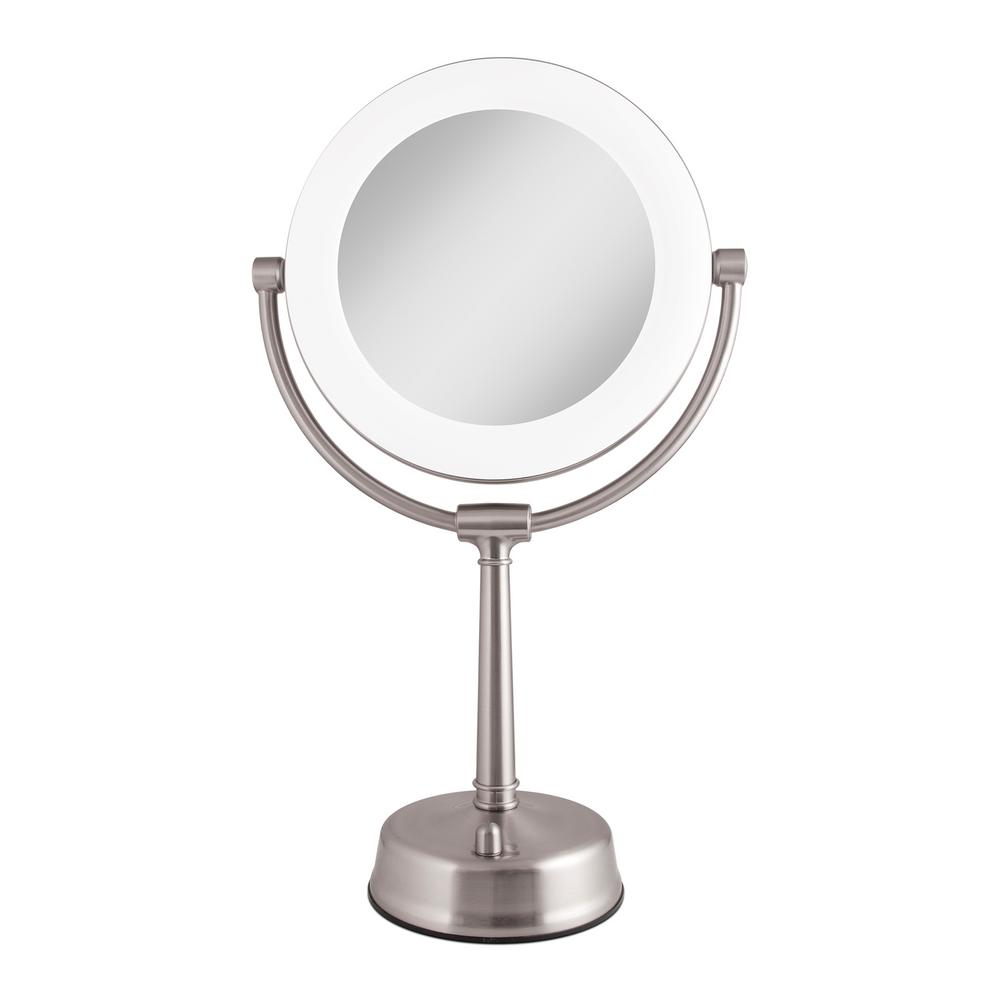 Zadro 6.25 in. x 20.75 in. Surround Fluorescent Adjustable Freestanding Bi-View 10X/1X Vanity Makeup Mirror in Satin Nickel