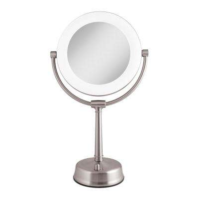 6.25 in. x 20.75 in. Surround Fluorescent Adjustable Freestanding Bi-View 10X/1X Vanity Makeup Mirror in Satin Nickel