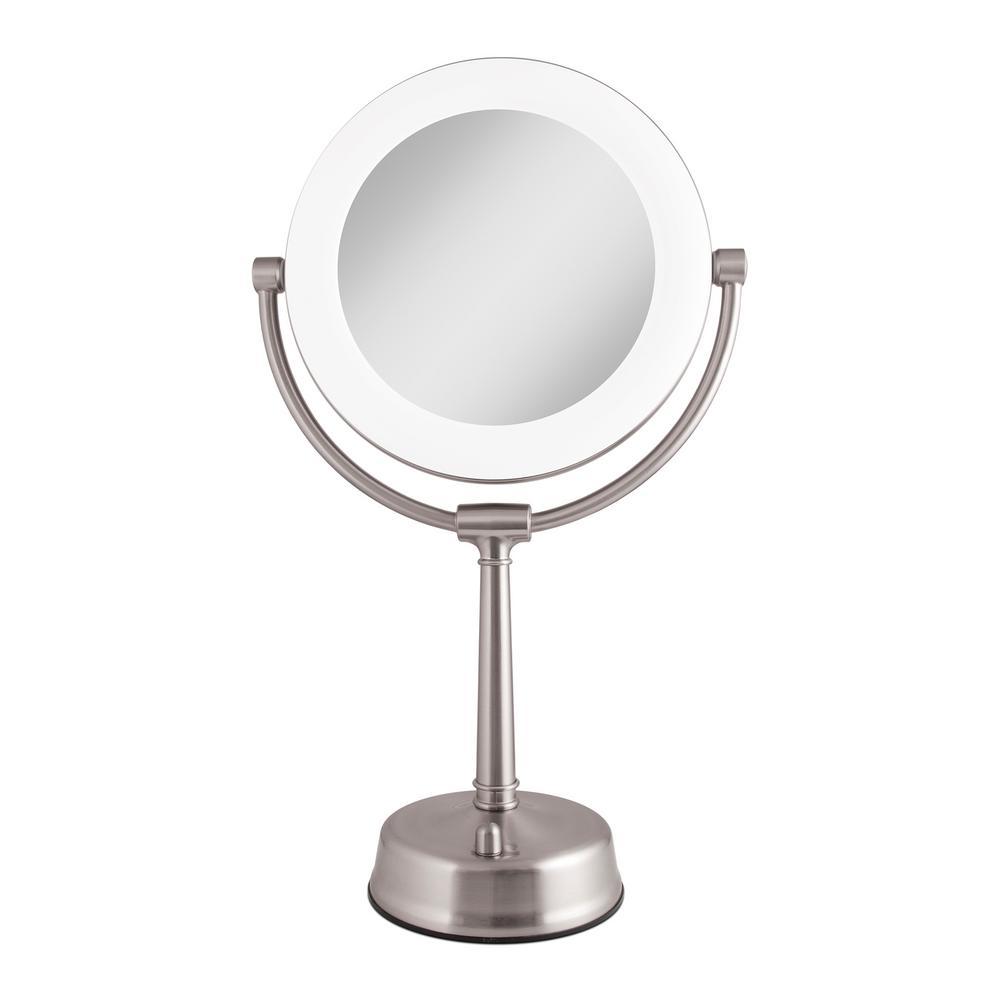 Zadro 6.25 in. x 20.75 in. Surround Lighted Make-Up Mirror in Satin Nickel
