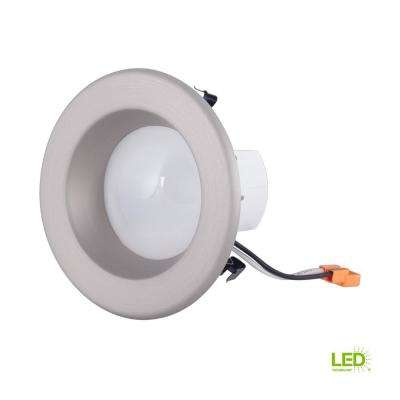 4 in. Brushed Nickel Integrated LED Recessed Ceiling Light with Trim Ring, 2700K, 96 CRI