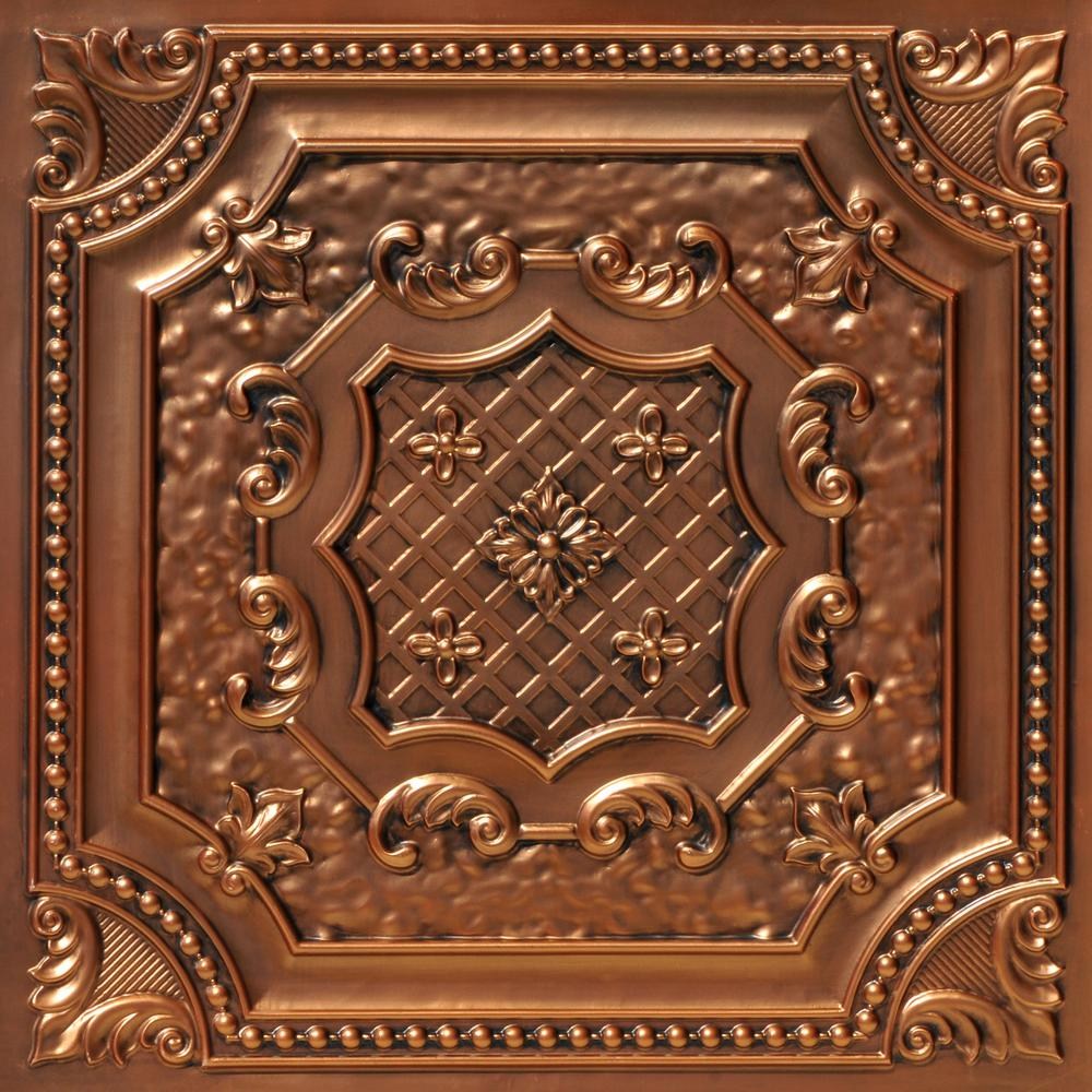 From Plain To Beautiful In Hours Elizabethan Shield 2 ft. x 2 ft. PVC Lay-in or Glue-up Ceiling Panel in Aged Copper