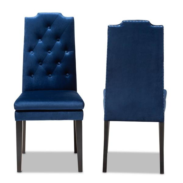 Dylin Royal Blue Fabric Dining Chair (Set of 2)
