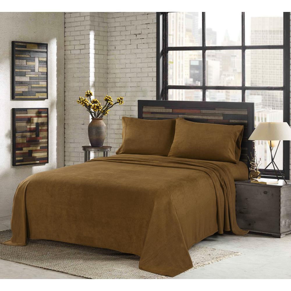 Sunbeam Toffee King 4 Piece Fleece Sheet Set