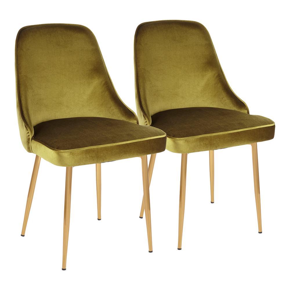 Gold and Green Marcel Velvet Dining Chair (Set of 2)