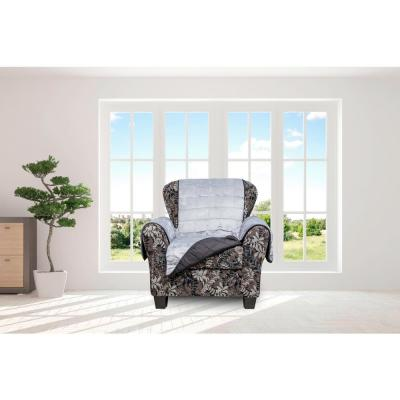 Joseph Flannel Black and Grey Reversible Waterproof Microfiber Chair Cover