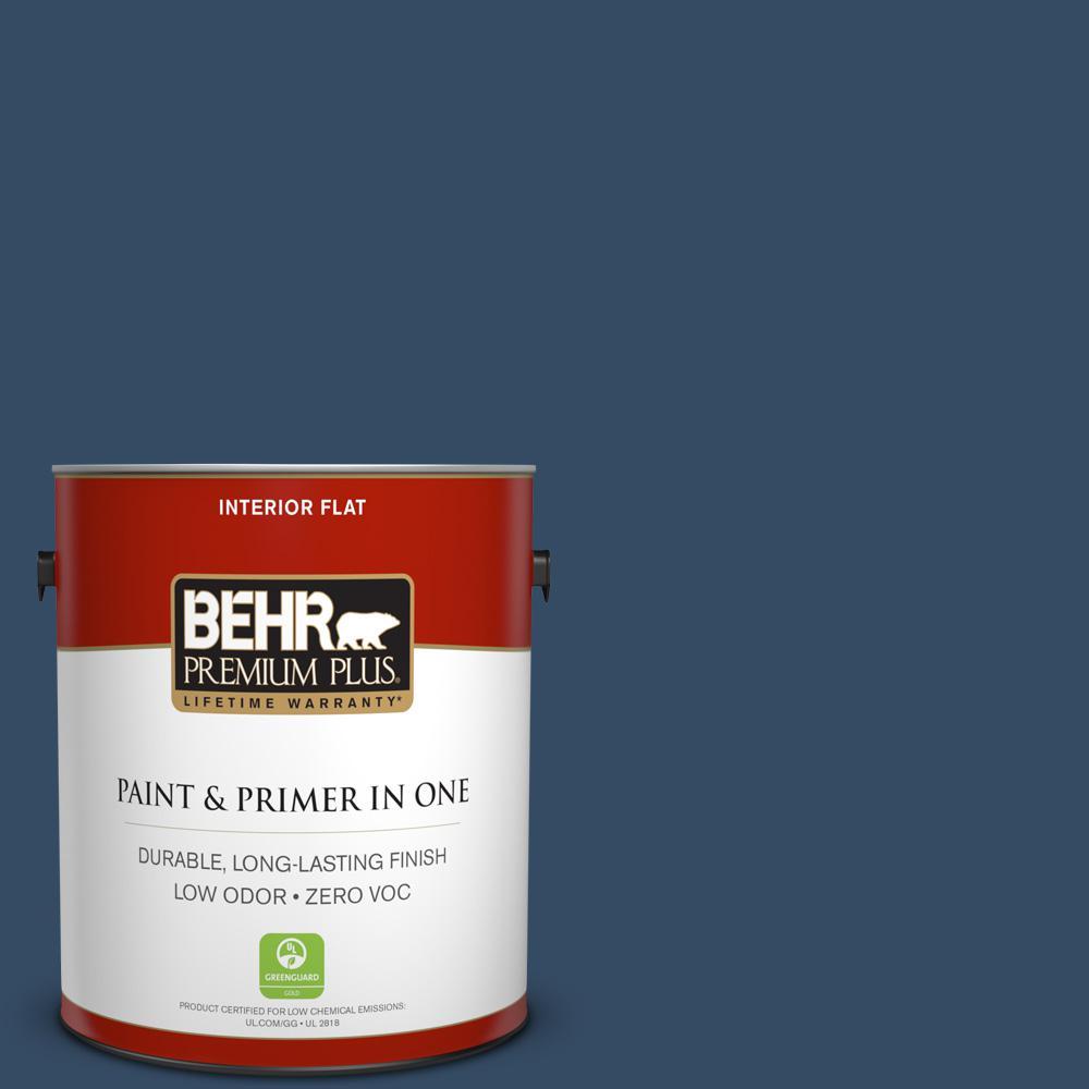 BEHR Premium Plus 1-gal. #ECC-53-3 Outer Space Zero VOC Flat Interior Paint