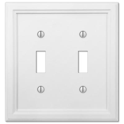 Elly 2 Gang Toggle Composite Wall Plate - White
