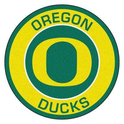 NCAA University of Oregon Gold 2 ft. 3 in. x 2 ft. 3 in. Round Accent Rug