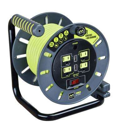 50 ft. 13 Amp 14 AWG Medium Open Reel with USB Charging and 4-Sockets