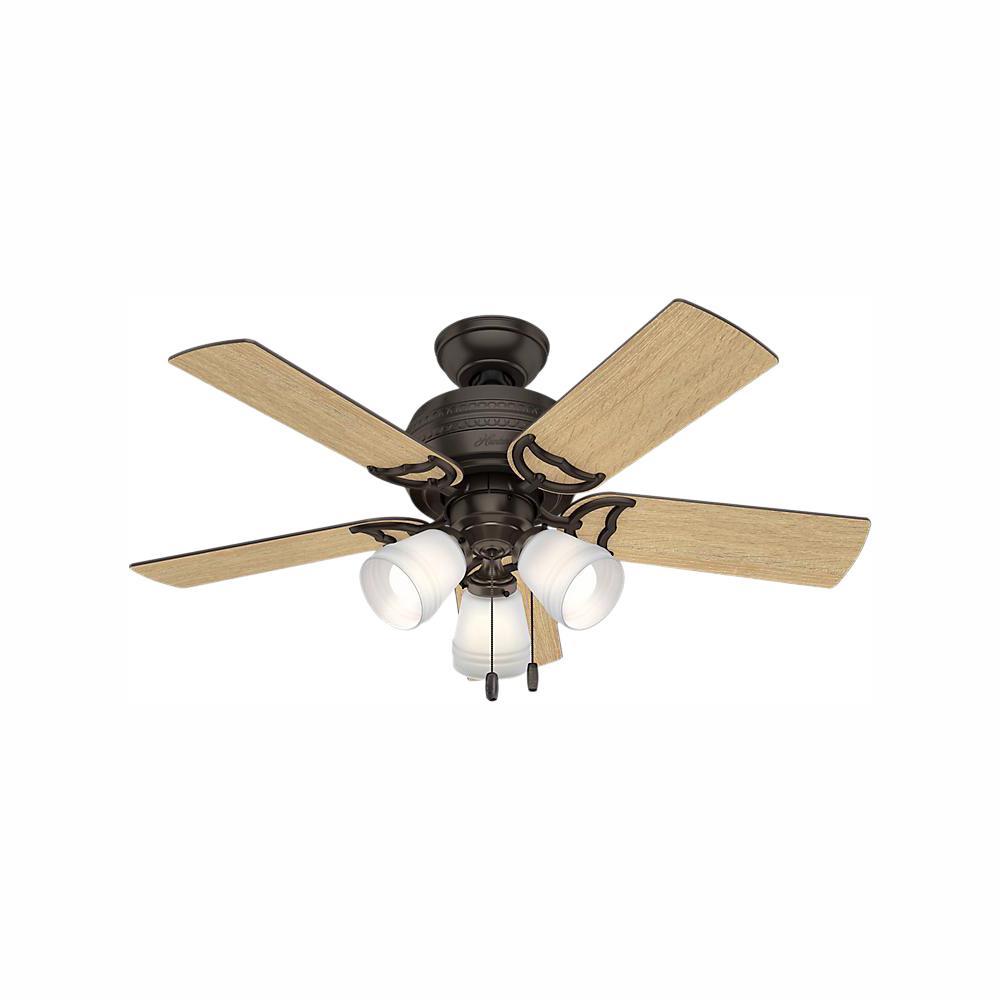 Hunter Prim 42 in. LED 3-Light Indoor Premier Bronze Ceiling Fan