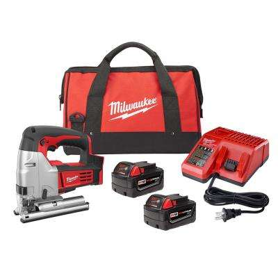 M18 18-Volt Lithium-Ion Cordless Jig Saw Kit w/(2) 3.0Ah Batteries, Charger, Tool Bag