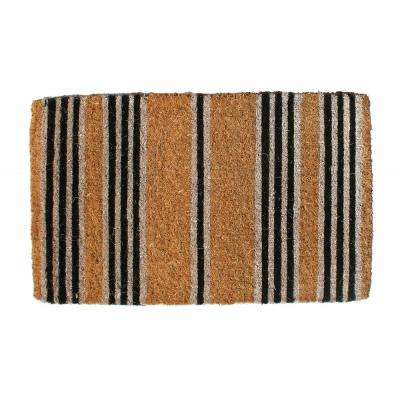 Traditional Coir Mat, Black Stripes, 30 in. x 18 in. Natural Coconut Husk Doormat
