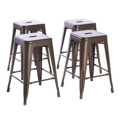 24 in. High Bronze Industrial Metal Bar Stool (Set of 4)