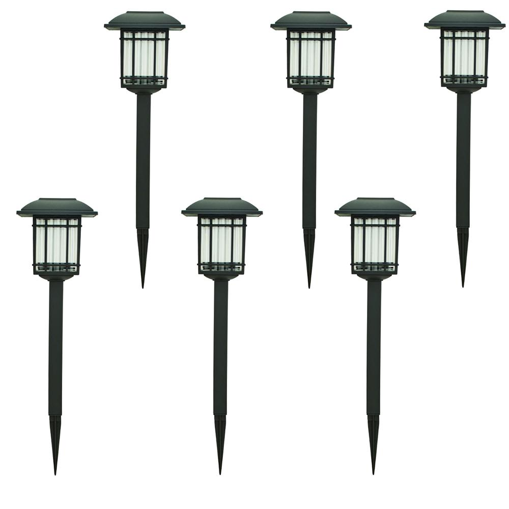 Solar Landscape Lights Outdoor: Hampton Bay Solar Black Outdoor Integrated LED 3000K 6