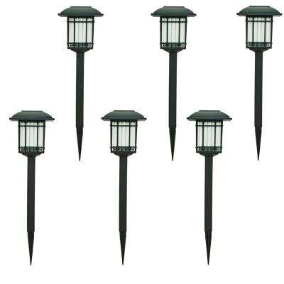 Solar landscape lighting outdoor lighting the home depot solar black outdoor integrated led 3000k 6 lumens landscape pathway light 6 pack aloadofball Image collections