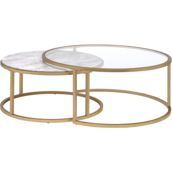 Venetian Worldwide Shanish 2 Piece Gold Round Glass Coffee Table Set With Nesting Tables Va 81110 The Home Depot