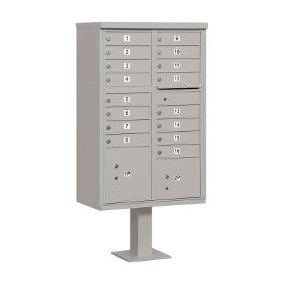 Gray USPS Access Cluster Box Unit with 16 A Size Doors and Pedestal