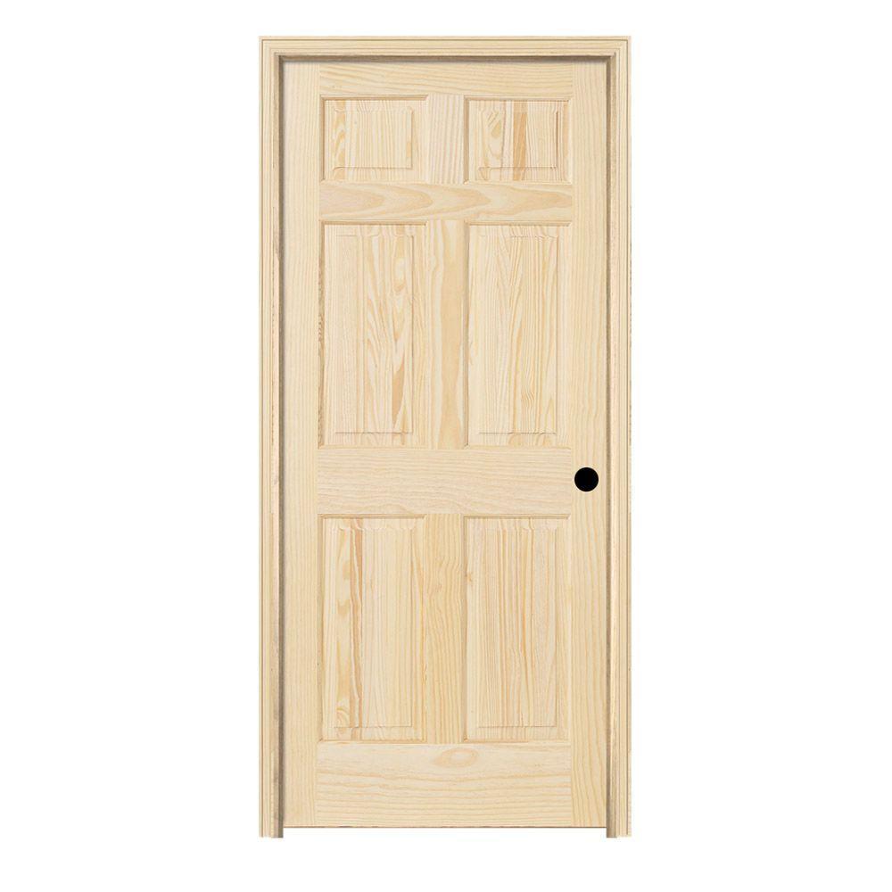 Jeld Wen 28 In X 80 In Pine Unfinished Left Hand 6 Panel Wood Single Prehung Interior Door