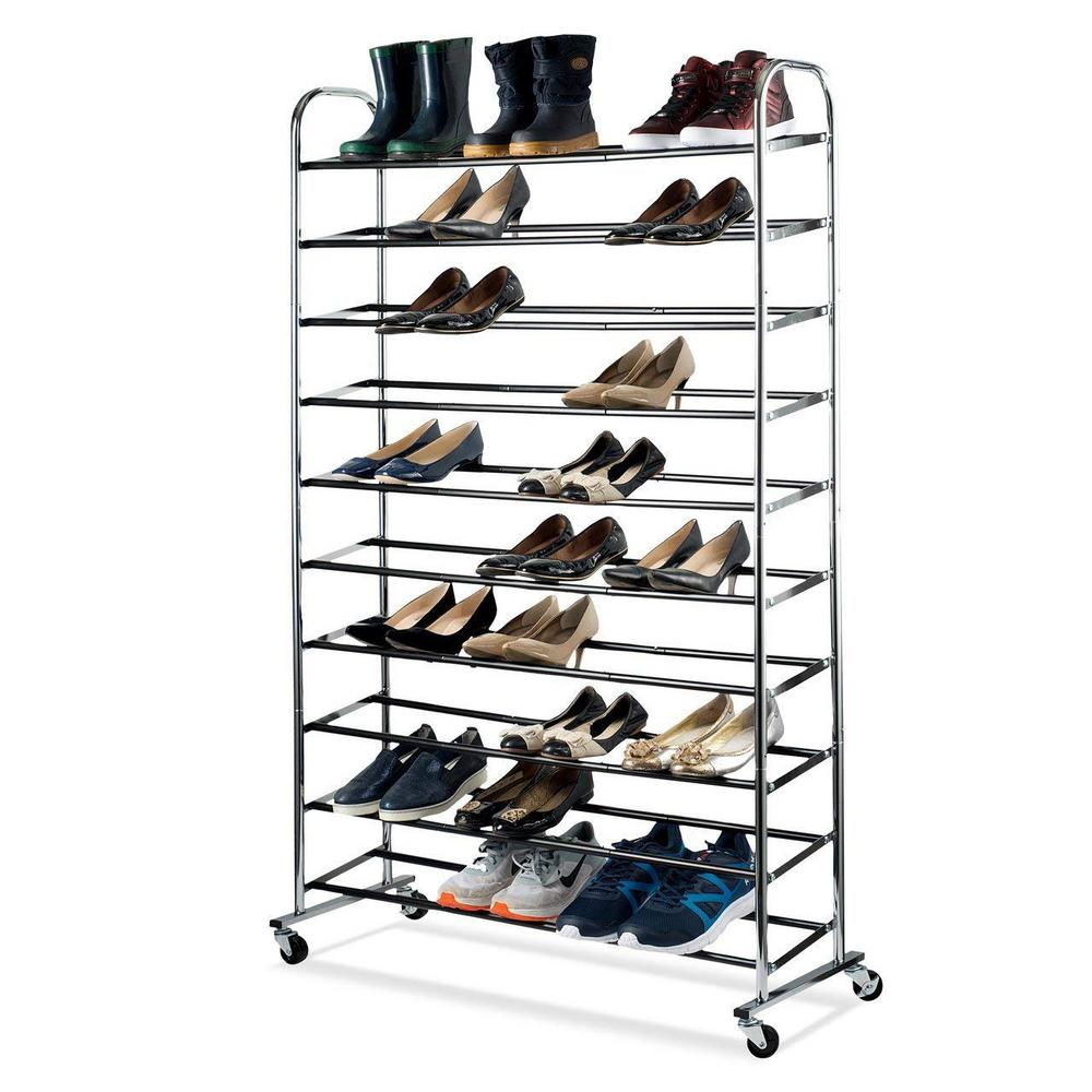 Home it 50-Pair Chrome (Grey) Shoe Rack Organizer With Wheels A chrome shoe tower capable of holding 50 pair of shoes is the answer to your shoe storage needs. This rack can help you arrange and display different kind of shoes. It is easy to assemble and is made of durable chromed metal. It boast 10 tiers of non-slip tubes to hold your shoes and has durable wheels for easy mobility or the bottom rack sits flat on the floor for a stationary unit.