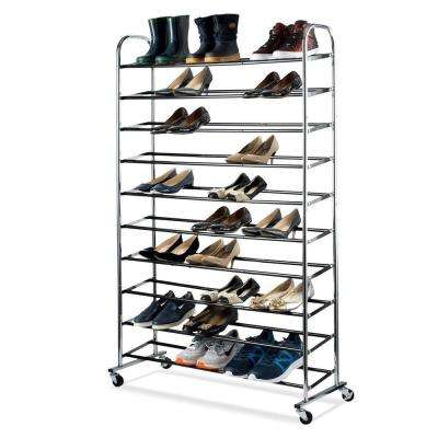 50-Pair Chrome Shoe Rack Organizer With Wheels