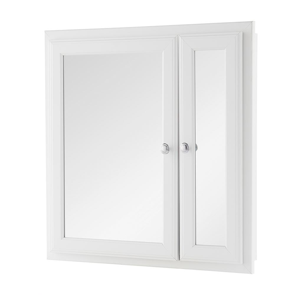 Home Decorators Collection 24-1/2 in. W x 25-3/4 in. H Fog Free Framed Recessed or Surface-Mount Bi-View Bathroom Medicine Cabinet in White